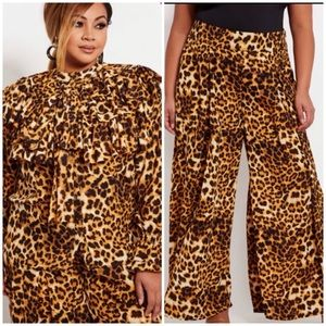 Ashley Stewart Leopard Bell Bottom Pant NWT